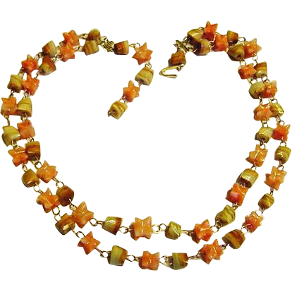 BG95 Vintage Japan Gold Fill Wire Polished Agate Double Strand Choker Necklace Soft Peaches and Greens