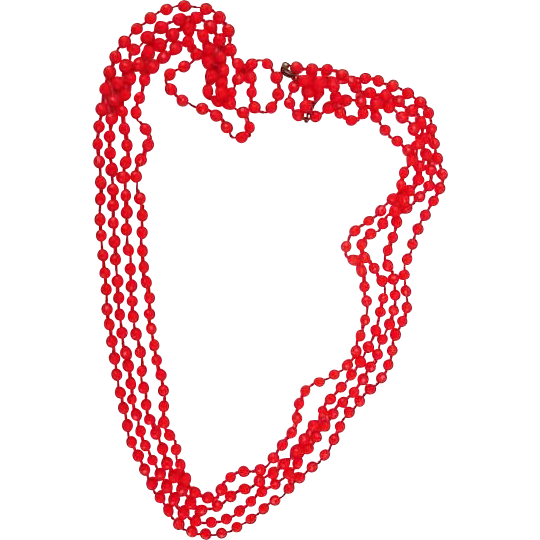 BG229 Art Deco Flapper Lot of Two Matched 63inch & 60inch Strands Fire Engine Red Facetted Crystal Glass Hand Knotted Long Necklaces