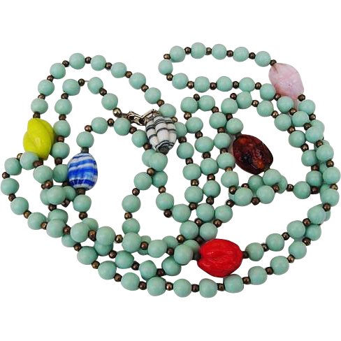 BG338 Art Deco Flapper Turquoise Plastic & Colorful Swirled Art Glass Long Beaded Necklace 55inches Vintage