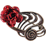 BG325 Romantic JewelArt Sterling Silver Glittery Red Enamel Rose Brooch Pin Vintage