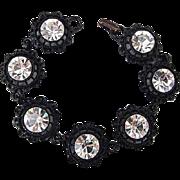 BG239 Vintage Black Enamel & Large 10mm Ice Clear Crystal Rhinestone Bracelet