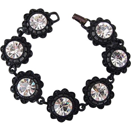 BG239 Vintage Black Enamel & Large 10mm Ice Clear Crystal Rhinestone Bracelet
