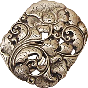 BG71 Large 2.5inch Fur Dress Scarf Clip Art Nouveau Floral Repousse ZB 800 Silver not Sterling Antique