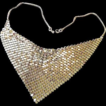 BG449 Vintage Mesh Metal Silver Collar Bib Necklace Choker Whiting & Davis perhaps
