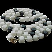 BG225 Vintage Geometric  32inch Cubist Cubes Black & White Milk Glass Necklace Seed Beads