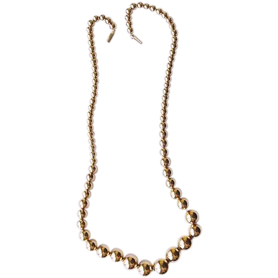 BG392 Quality Gold Plated Vintage 1950s to 1960s Gradudated Bead Ball Necklace 31inches