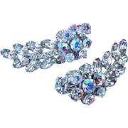 BG91 HUGE 2 inch Ice & Aurora Borealis AB Crystal Rhinestone Earrings Vintage Clips BLING