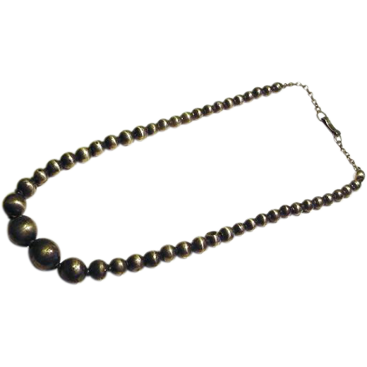 BG172 Vintage Sterling Silver 925 Hecho en Mexico Maker Marked Graduated Hollow Ball Bead Necklace