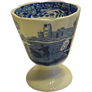 Copeland Spode's Italian England Blue and White Egg Cup Scalloped Edge