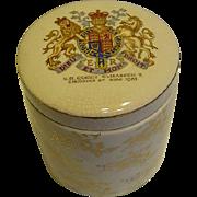 1953 Queen Elizabeth II Coronation Souvenir Lidded Marmalade Jug Dish Sandland Ware England Coat of Arms