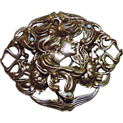 Antique Edwardian to Art Nouveau Lady Lotus Blossom Repousse Belt Buckle Slide Faux Turquoise Silver Plated 3.75inch