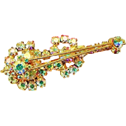 BG141 Aurora Borealis AB Crystal Rhinestone Juliana Violin Cello Brooch Pin Vintage
