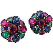 Vibrant 1964 Crown Trifari Renaissance Ruby Emerald Sapphire Glass Earrings Gripoix Clip Ons Works with Moghul Jewels of India