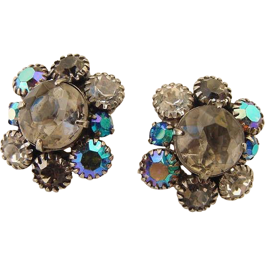 Flashy Weiss Signed Aurora Borealis AB Crystal Rhinestone Blue Gray and Ice Clear Clip On Earrings