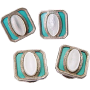 Art Deco 1920 Celluloid Robin Egg Turquoise Blue & Carved Mother of Pearl Shell Cuff Links Snap Links Double Sided