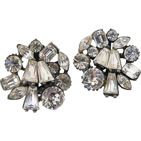 Flashy Large Vintage Claudette Ice Clear Crystals Diamonte Set in Antiqued Silver Clip On Earrings