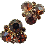 BG218 Vintage WEISS Golden Topaz Rhinestone Glass Earrings Gold Tone Clip Backs