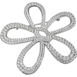 Swarovski Pave Ice Clear 300 + Crystals Rhodium Plated Huge Flower Posy Brooch Pin Swan Hallmarked Authentic 3.4inches