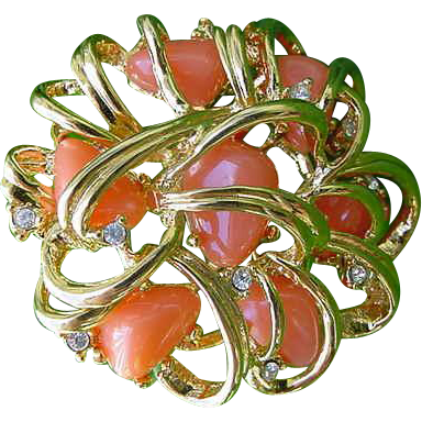 Joan Rivers Faux Coral & Crystal Rhinestones Gleaming Gold Plated Brooch Pin