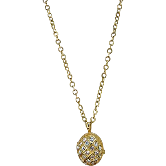 Crystal Egg Locket Pendant Joan Rivers Opens to Bumble Bee inside Gold Plated