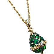 Shimmering Green Enamel Crystal Rhinestone Egg Pendant Necklace Possibly Joan Rivers