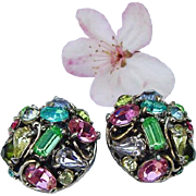 Vintage Hollycraft Domed Pastel Crystal Rhinestone Clip On Earrings Silver Tone