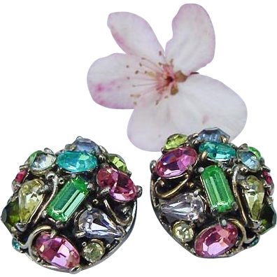 Vintage Hollycraft Domed Pastel Crystal Rhinestone Clip On Earrings Silver Tone Copyright 1953