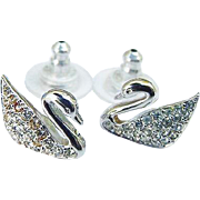 Swarovski Ice Clear Crystal Swan Logo Signed Figural Earrings Pierced Post Rhodium  Authentic