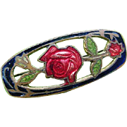 Art Nouveau Antique Cloisonne Romantic Red Rose Enamel Brooch Pin