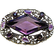Art Deco Antique Amethyst Purple Glass Crystal Brooch Pin & Enamel Filigree Possibly Czech