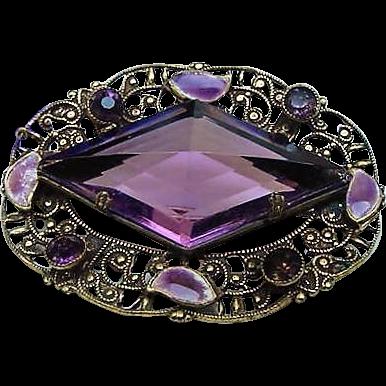 Art Deco Antique Amethyst Purple Glass Crystal Brooch Pin & Enamel Filigree Possibly Czech