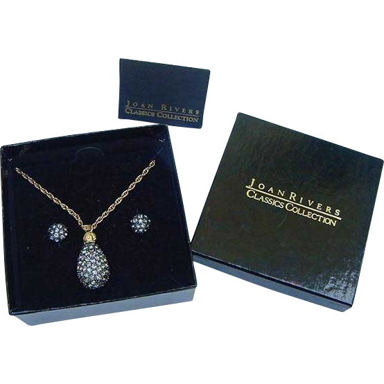 Faberge Egg St. Petersburg Collection Black Caviar Crystal Joan Rivers Pendant & Earrings in Box Set Gold Plated Necklace