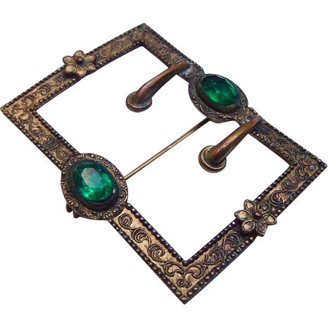 Gorgeous Antique Emerald Green Glass Rhinestone Gilt Buckle Pin Brooch Victorian