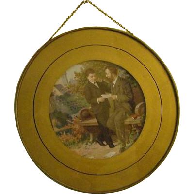 Antique Victorian Chromolithograph Flue Stove Pipe Cover Boy with Father Son & Dad Print