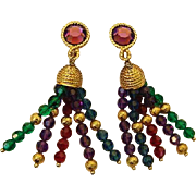 Stunning Vintage 3.10 inch Napier Crystal Chandelier Facetted Dangles Runway Clip On Earrings Purple Red Blue & Green
