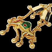 Exotic Hard to Find Rare Vintage Kenneth J Lane KJL Camel Tent Araby Crystal Enamel 4inch Pendant Brooch Combo