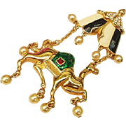 Exotic Hard to Find Rare Vintage Kenneth J Lane KJL Camel Tent Araby Crystal Enamel 4inch Pendant Brooch Combo