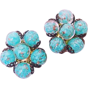 Vintage Venetian Murano Italy Stamped Blue & Adventurine Glass Earrings Clip Ons