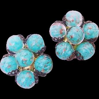 Vintage Venetian Murano Italy Stamped Blue & Adventurine Glass Earrings Clip Ons