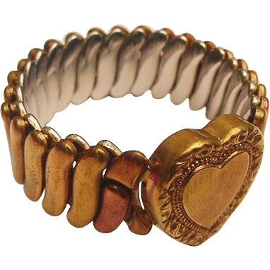 Vintage Sweetheart Expansion Bracelet Puffy Heart Gold Fill Plated 1940s-50s Expandable