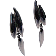 Crown Trifari Vintage Shiny Silver Long Clip On Earrings