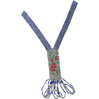 Art Deco Flapper 1920s Woven Glass Seed Bead Roses Sautoir Necklace Beaded Champagne Royal Blue & Red Roses