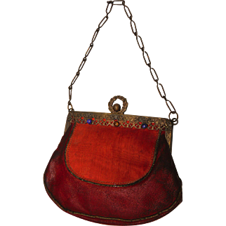 Antique Victorian to Art Nouveau Red Leather & Paste Child or Doll Purse Handbag Reticule