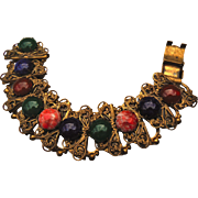 Fantastic Art Deco Czech Glass Egyptian Revival Gold Gilt Bracelet Carnelian Lapis Lazuli Jade Agate Cabs Filigree