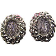 Bold Chunky Designer HOBE Signed Silver Tone Braided Mesh Clip On Earrings Vintage