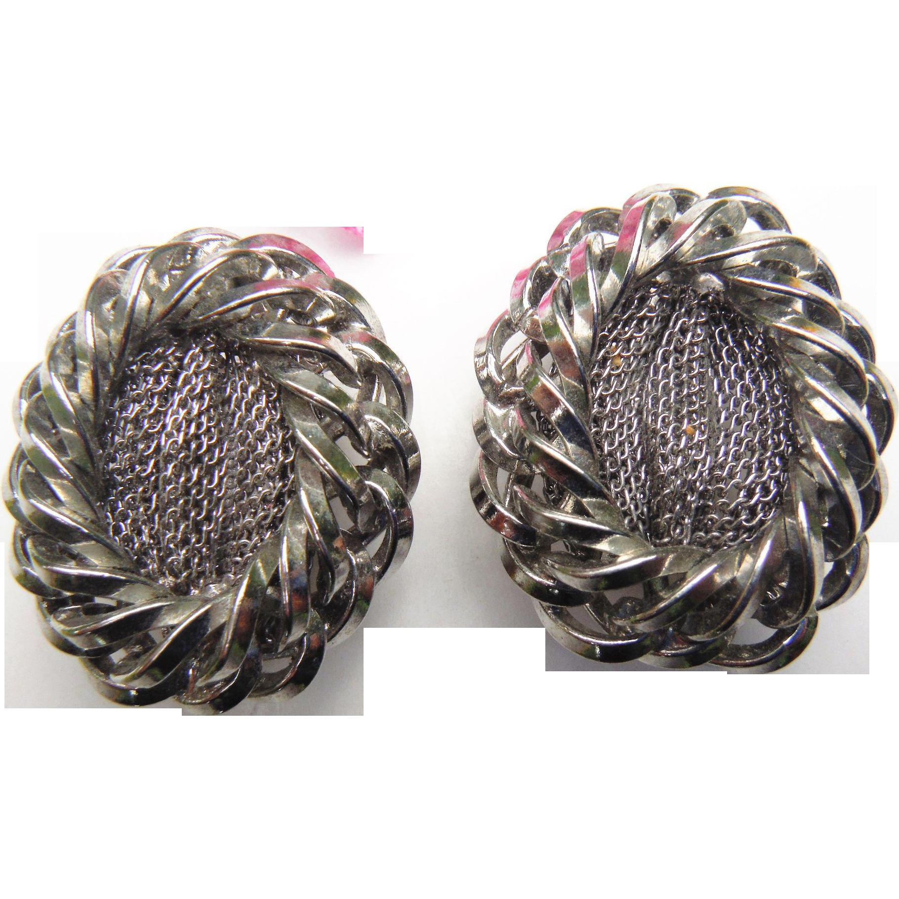 Bold Chunky Designer HOBE Signed Silver Tone Braided Mesh Clip On Earrings Vintage