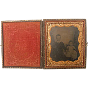 Antique Victorian Tintype Photograph Wood Leather Full Case Baby Girl & Little Boy Brother Sister Double Matted Cased