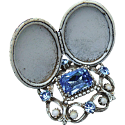 Florenza Costume Jewels Vanity Dresser Photo Double Locket Frame Stand Crystals Rhinestones Baby Blue White Gold Distressed Shabby Chic