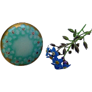 Victorian Hand Painted Gilt Forget Me Not Blue Flower Porcelain Button Stud Antique