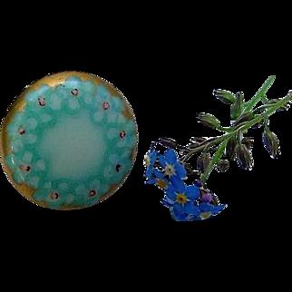 Victorian Hand Painted Gilt Forget Me Not Blue Flower Porcelain Button Stud Antique